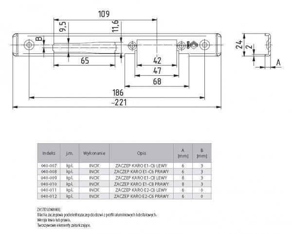 Zaczep KARO pod elektrozaczep E2-C6 6x24mm Lewy