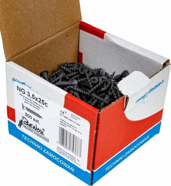 Wkręty czarne płyt gk karton gips/drewn 3,5x25 500szt.