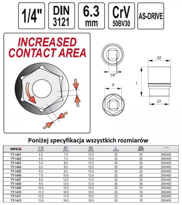 Nasadka Sześciokątna krótka 1/4-11mm YATO 1410 CRV