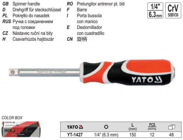 Pokrętło wkrętak do nasadek 1/4' YATO 1427 CRV