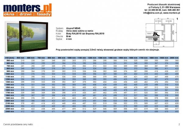 Drzwi aluminiowe 100x220 Aluprof MB45