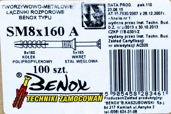 Kołki rozporowe 8x160 szybkiego montażu 100szt
