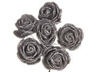 Różyczki z Pianki Brokatowe 6szt - Serbrne [Zestaw - 12 kompletów]