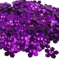 Cekiny Kwiatki Nacinane Fioletowe - [ Komplet - 20 sztuk]