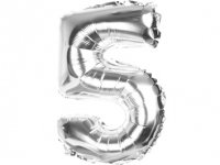 Balony Foliowe Cyferka 5 Srebrna 70cm - [ Komplet - 20 sztu]