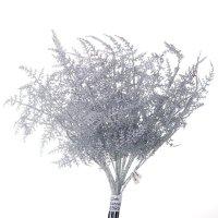 Gałązka Asparagus Brokatowa Srebro [Komplet 24 sztuki] 602947