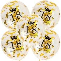 Balony 18th Birthday Konfetti Złote [Komplet - 5 opakowań]