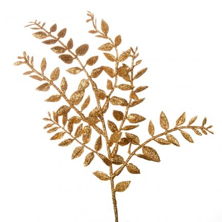 Gałązka Listki Brokatowa Złoto [Komplet 10 sztuk] 602924