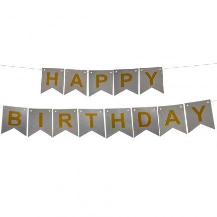 Baner Happy Birthday Srebrny Złote Litery [Komplet - 4 Sztuki]