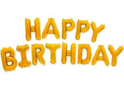 Balon Foliowy Happy Birthday Złoty [ Komplet - 5 szt]
