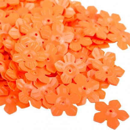 Cekiny Kwiatki Nacinane Pomarańczowe Pastelowe - [ Komplet - 20 sztuk]