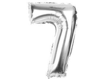 Balony Foliowe Cyferka 7 Srebrna 40cm - [ Komplet - 20 sztu]