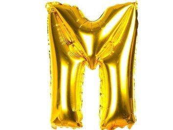 Balony Foliowe Literka M Złota 40cm - [ Komplet - 20 sztuk]