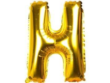 Balony Foliowe Literka H Złota 40cm - [ Komplet - 20 sztuk]