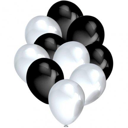 Balony Metalik Perłowe/Czarny [Komplet - 5 opakowań]