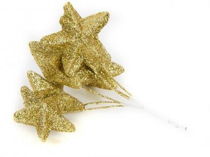 Gwiazdki Brokatowe  Złote [Komplet - 10 Pęczków]
