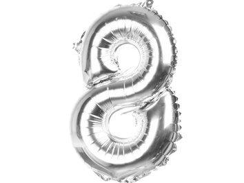 Balony Foliowe Cyferka 8 Srebrna 40cm - [ Komplet - 20 sztu]