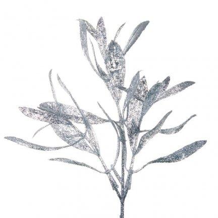 Liść Oliwka Brokatowy Srebro [Komplet 5 sztuk] 602935
