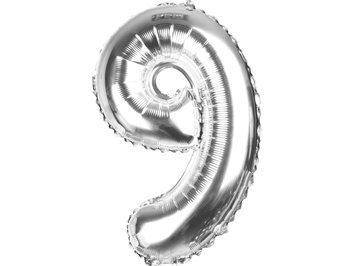 Balony Foliowe Cyferka 9 Srebrna 40cm - [ Komplet - 20 sztu]