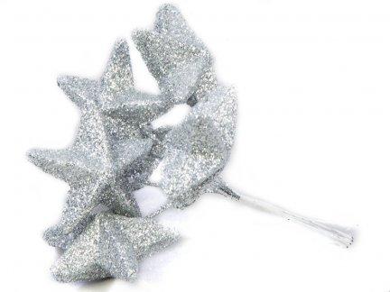 Gwiazdki Brokatowe  Srebrne [Komplet - 10 Pęczków]