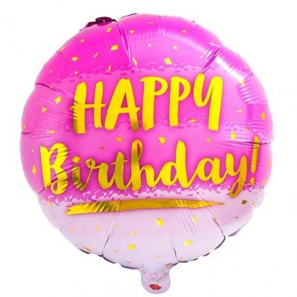 Balon Foliowy Róż Happy Birthday [Komplet - 4 sztuki]