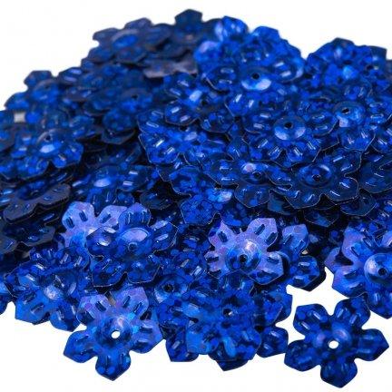 Cekiny Kwiatki Nacinane Niebieskie Mieniące - [ Komplet - 20 sztuk]