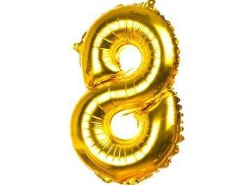 Balony Foliowe Cyferka 8 Złota 40cm - [ Komplet - 20 sztuk]