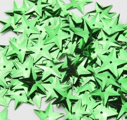 Cekiny Gwiazdki Duże 15mm Zielone- [ Komplet - 20 sztuk]