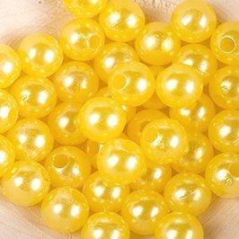 Koraliki Perełki 8mm 10g Kolor Cytryna 25 [ Zestaw - 50 Kompletów]