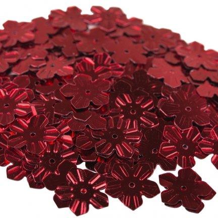 Cekiny Kwiatki Nacinane Czerwone - [ Komplet - 20 sztuk]