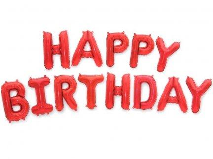 Balon Foliowy Happy Birthday Czerwień [ Komplet - 5 szt]