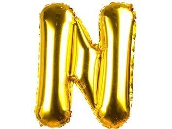 Balony Foliowe Literka N Złota 40cm - [ Komplet - 20 sztuk]