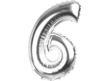 Balony Foliowe Cyferka 6 Srebrna 100cm - [ Komplet - 10 sztu]