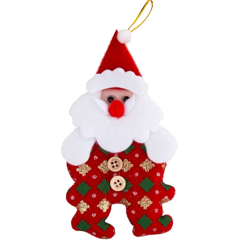 Zawieszka na Choinkę Mikołaj z Guzikami [Komplet 12szt]