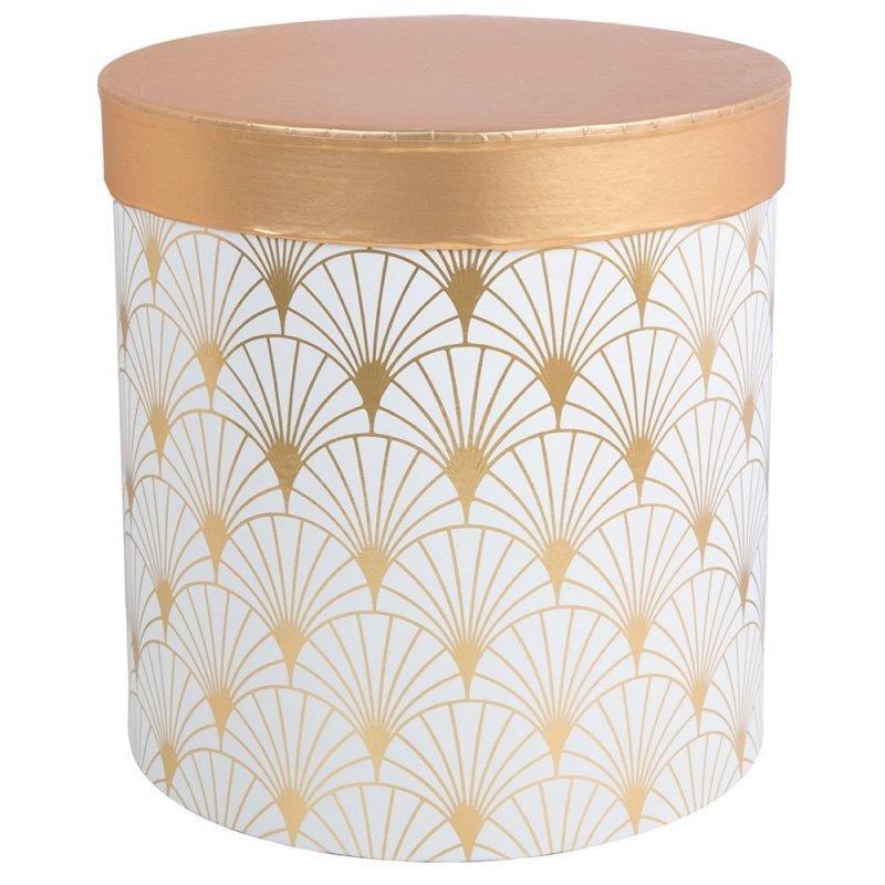 Flower Box Okrągły Wysoki Biel-Złoto Mały [ 2 Sztuki ]