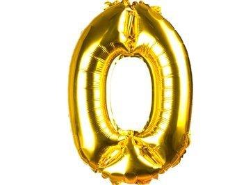 """Balony Foliowe Cyferka """"0"""" Złota 40cm - [ Komplet - 20 sztuk]"""