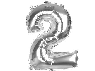 """Balony Foliowe Cyferka """"2"""" Srebrna 70cm - [ Komplet - 10 sztuk]"""