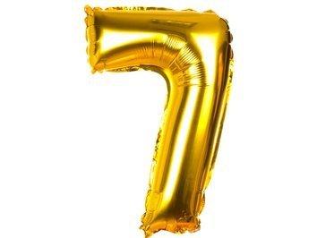 """Balony Foliowe Cyferka """"7"""" Złota 40cm - [ Komplet - 20 sztuk]"""