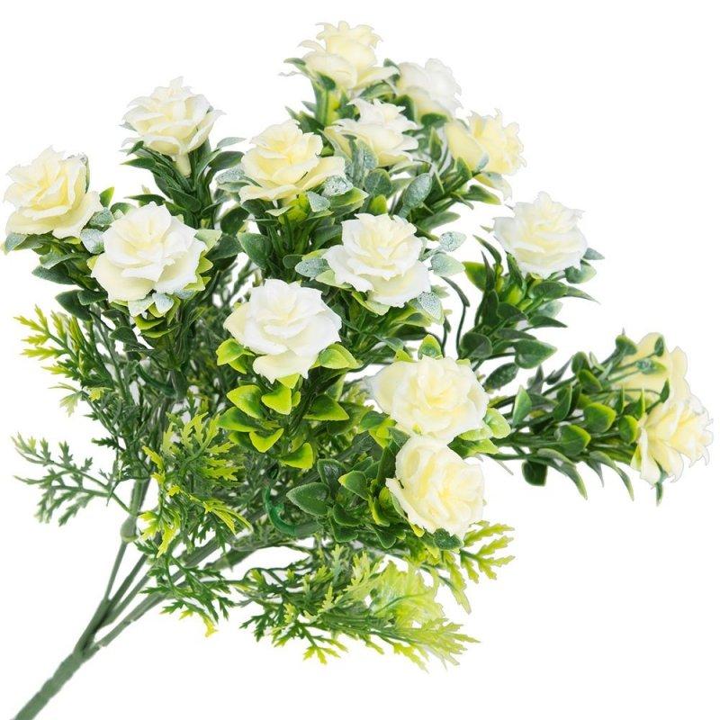 Gałązka Dekoracyjna Biało-Żółte Róże