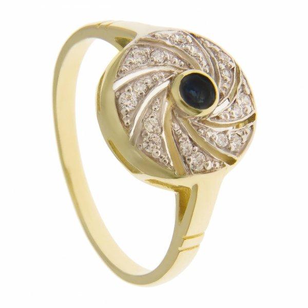 ARTES-Pierścionek złoty z szafirem 745