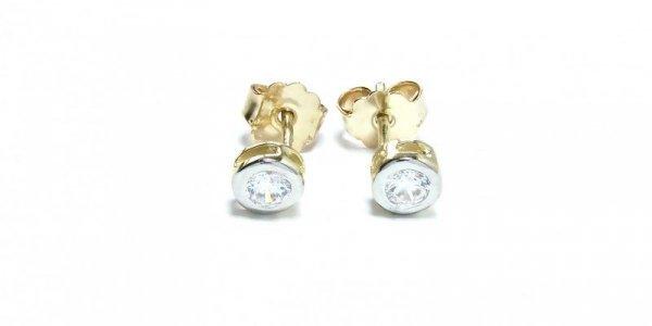 Kolczyki złote 585 na klapkę, zatrzaskowe - ARTES-Kolczyki zlote K-12 PR. 585