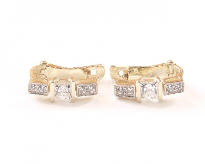 Kolczyki złote 585 na klapkę, zatrzaskowe - ARTES-Kolczyki złote 486 PR. 585