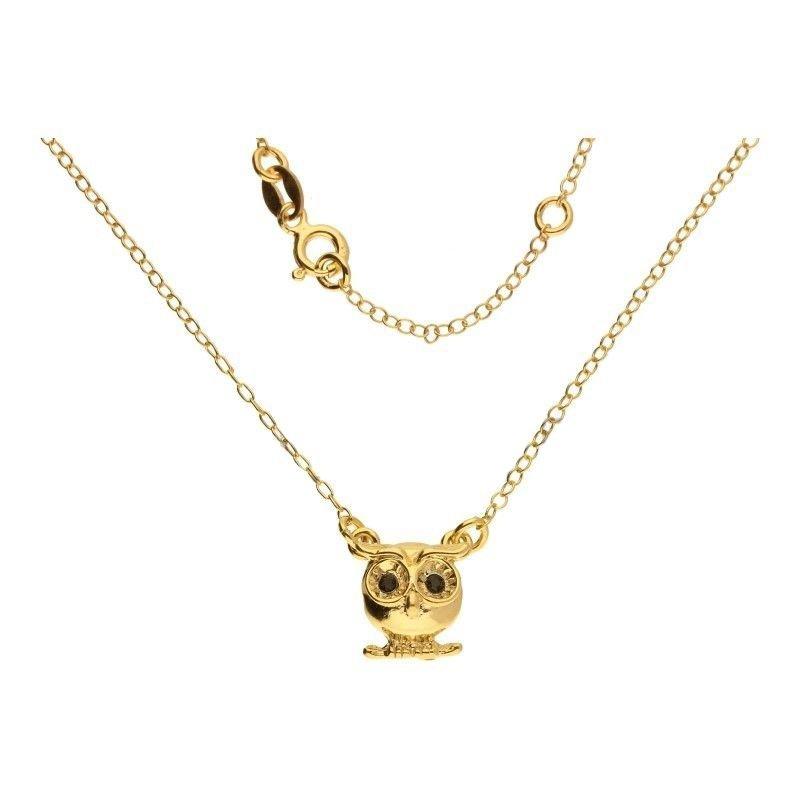 Celebrytka łańcuszek srebro 925 sowa złoto