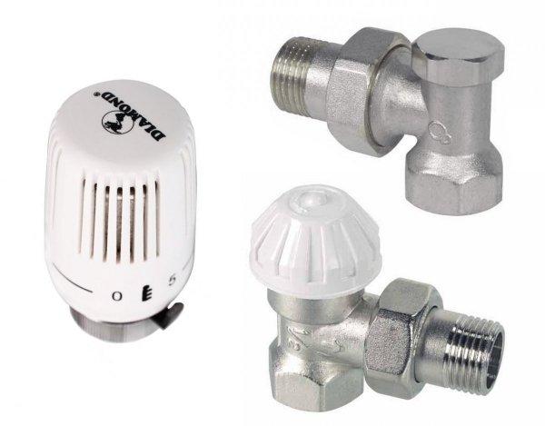 Zestaw termostatyczny kątowy Diamond do grzejnika
