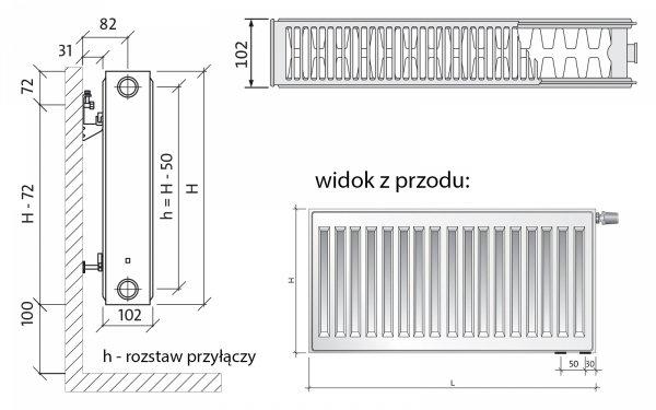 Grzejnik pokojowy Purmo CV22 600x1800 panelowy