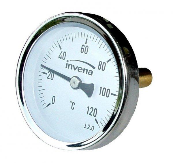 Termometr tarczowy do co 1/2 63mm 120'C axialny