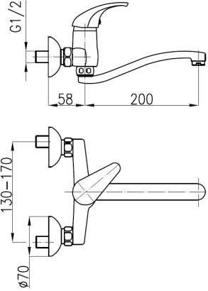 Armatura Baryt Bateria kuchenna ścienna
