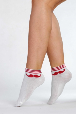 Supa! Sox! Red Mustache ladies socks