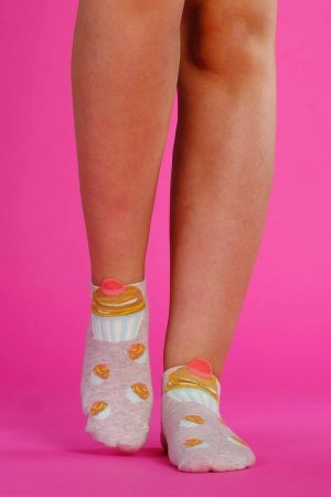Supa! Sox! Beige Cupcake ladies socks