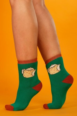 Supa! Sox! Green Pot ladies socks